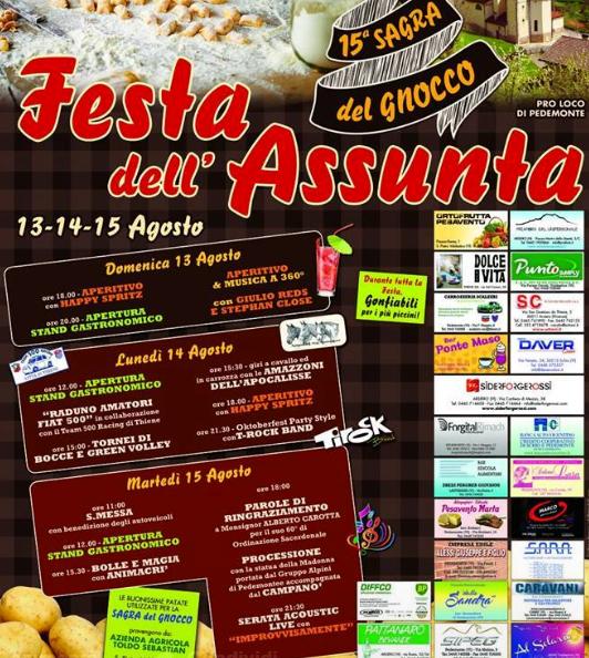 festa dell'assunta - sagra del gnocco brancafora pedemonte locandina 2017-2