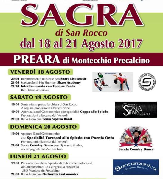 sagra di san rocco preara montecchio precalcino locandina 2017-2