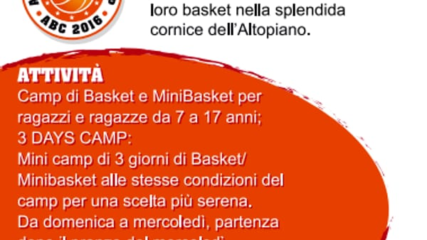 """Asiago Basket Camp"" nell'Altopiano di Asiago"