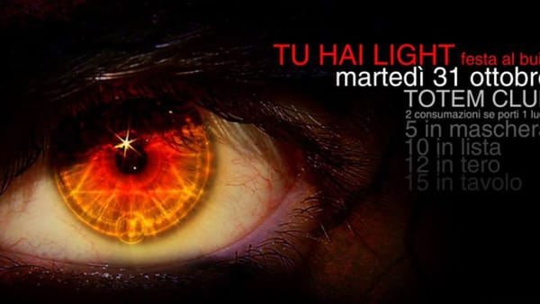 """Tu Hai Light?"": Halloween Party al buio al Totem di Vicenza"