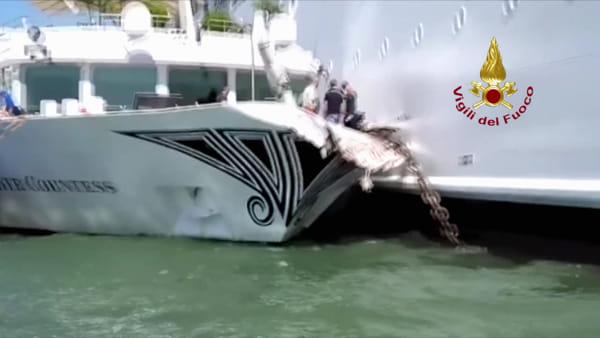 Scontro battello-nave da crociera a Venezia: il video