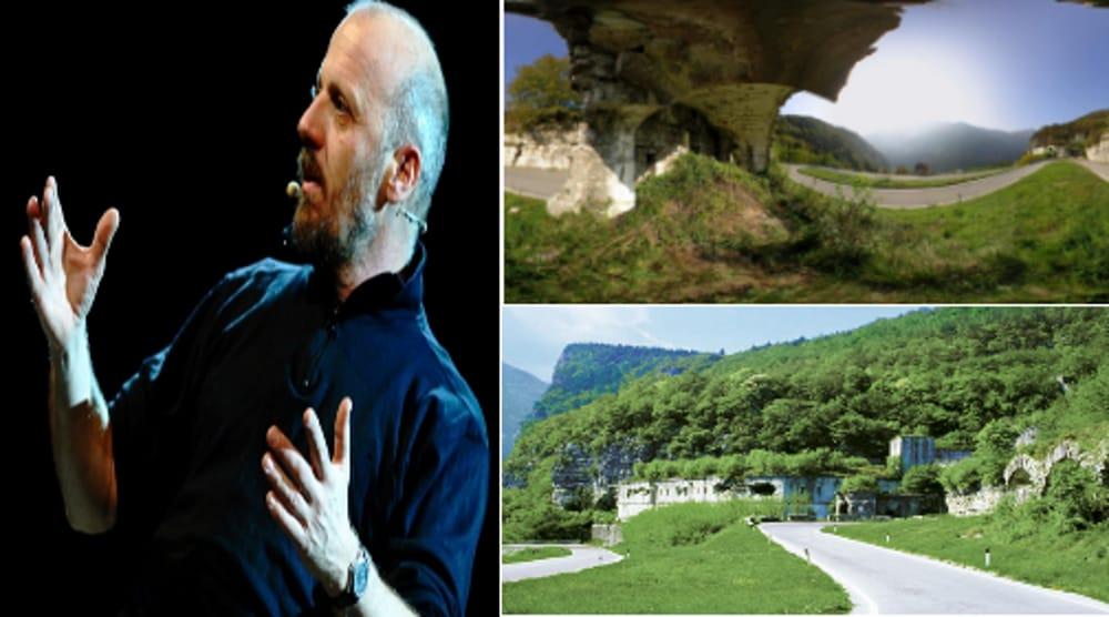 Collage Marco Paolini + Tagliaat della Scala di Primolano Immagini di archivio)