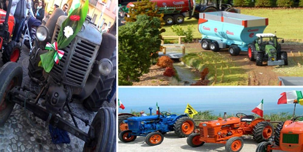 Collage fotografico Trattori + Modellini Macchine Agricole (immagini di archivio)