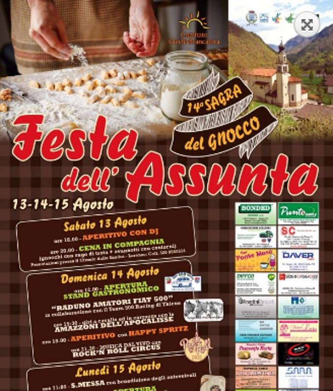 "Locandina ""Sagra del Gnocco-Festa dell'Assunta"" (foto facebook)"