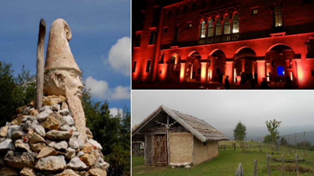 Collage musei, castelli e parchi in Pedemontana Vicentina (immagini di archivio)