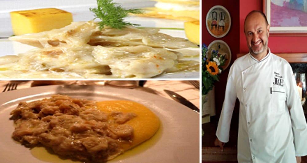 Collage fotografico baccalà con lo chef Renato Rizzardi (immagini di archivio)