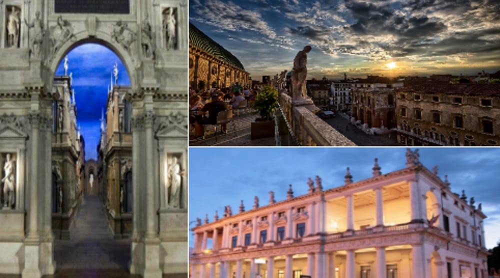 Collage Vicenza: Teatro Olimipico - Basilica Palladiana - Palazzo Chiericati (immagini di archivio)