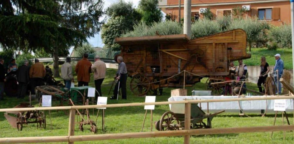 Expo trattori-attrezzi agricoli storicie dimostrazioni lavori antichi a Gambugliano (immagini di archivio)