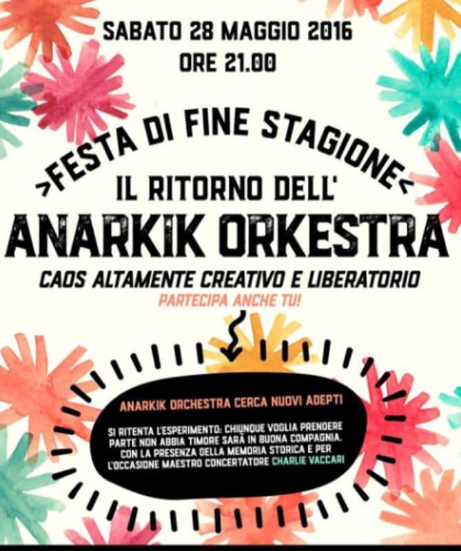 """Locandina """"Il ritorno dell'Anarkik Orkestra"""" (foto facebook)"""