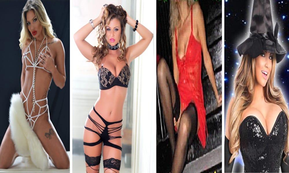Collage fotografico Vanessa Stone, Cora Kait, Selvaggia & Befane Sexy (immagini di archivio)