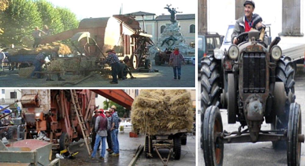 Dimostrazione trebbiatura e esposizione trattori antichi (immagini di archivio)